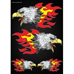 Stickers autocollants Moto Flames Aigles Format A3