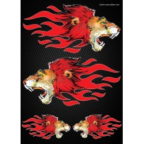 Stickers autocollants Moto Flames Lion Format A4