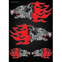 Stickers autocollants Moto Flames Loup Format A4