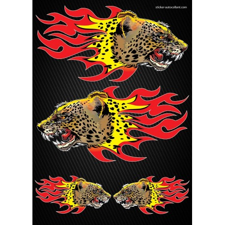 Stickers autocollants Moto Flames Pnathère Format A3