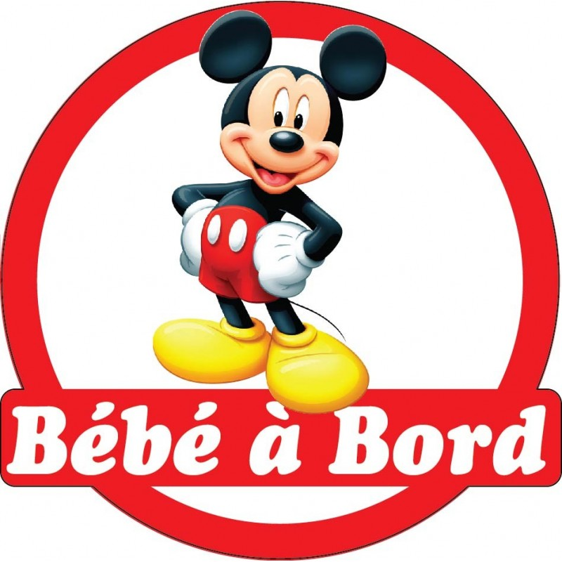 sticker autocollant auto voiture b b bord mickey art d co stickers. Black Bedroom Furniture Sets. Home Design Ideas