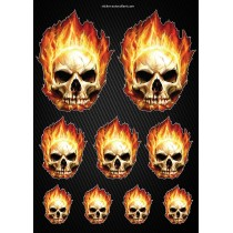 Stickers autocollants Moto Skull Flames Format A4