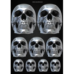 Stickers autocollants Moto Skull Format A3