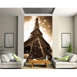 Papier peint grande largeur Tour Eiffel ton sépia