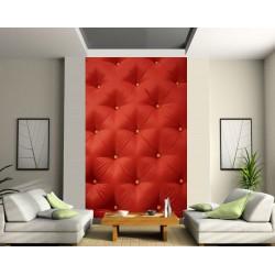 Papier peint déco grande largeur design Capitonné rouge