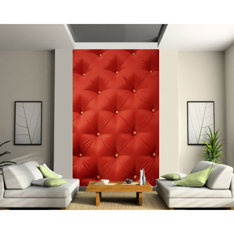 papier peint d co grande largeur design capitonn rouge. Black Bedroom Furniture Sets. Home Design Ideas