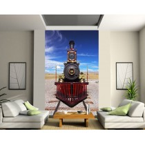 Papier peint trompe l'oeil train à vapeur