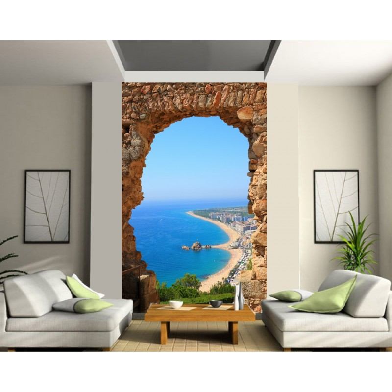papier peint trompe l 39 oeil vue sur mer art d co stickers. Black Bedroom Furniture Sets. Home Design Ideas