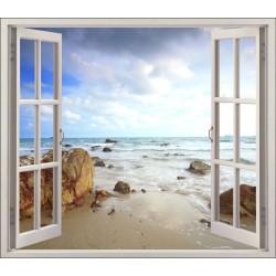 Stickers fenêtre déco Mer et rocher