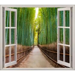Stickers fenêtre déco Fôret de bambous