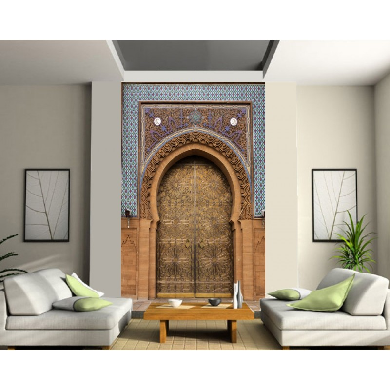 papier peint grande largeur porte palais orientale art d co stickers. Black Bedroom Furniture Sets. Home Design Ideas