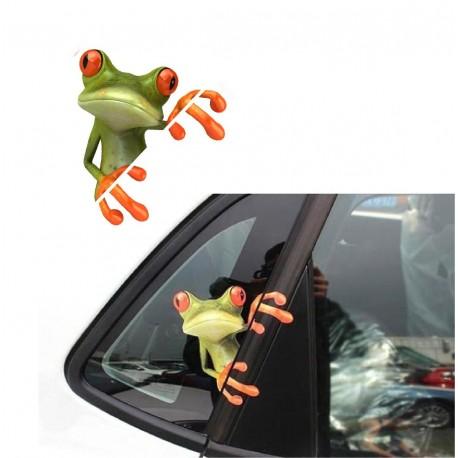 2 stickers autocollants pour vitre auto grenouille marrante art d co stickers. Black Bedroom Furniture Sets. Home Design Ideas