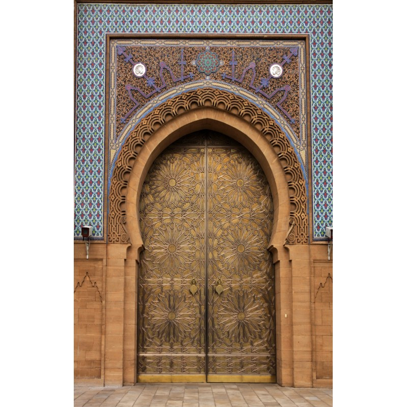 Papier peint grande largeur porte palais orientale art - Papier peint pour porte interieure ...