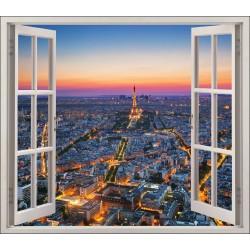 Stickers fenêtre déco Paris la nuit