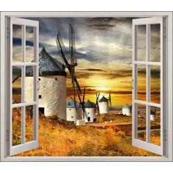 Stickers fenêtre déco Vus sur des moulins