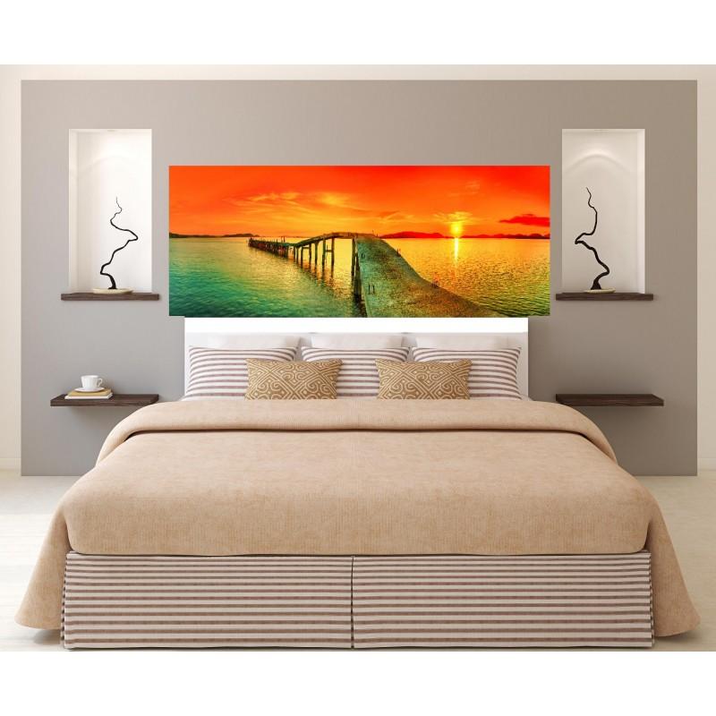 stickers t te de lit coucher de soleil art d co stickers. Black Bedroom Furniture Sets. Home Design Ideas