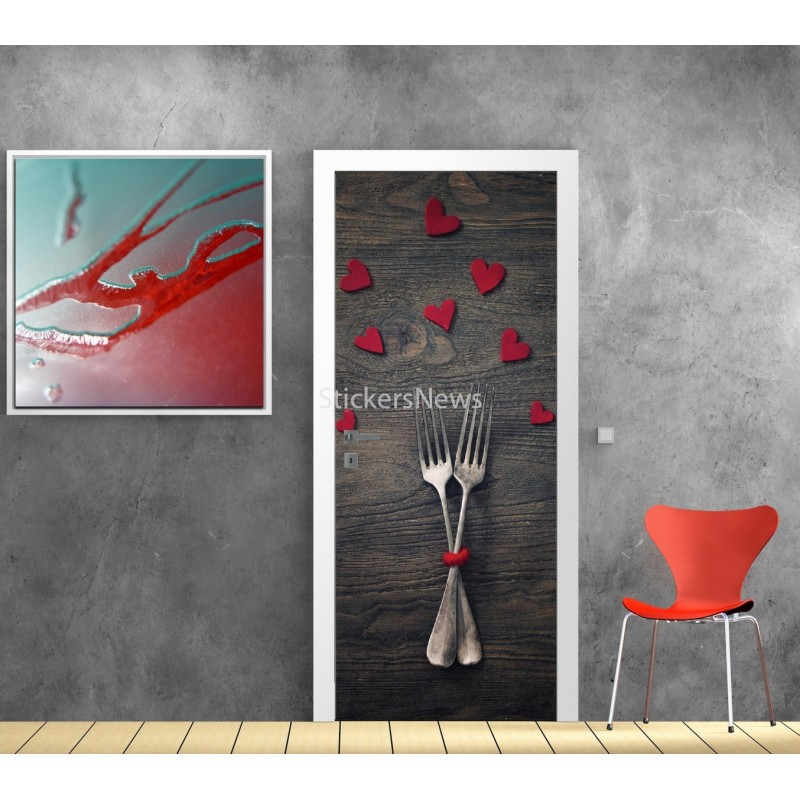affiche poster porte d co cuisine couvert art d co stickers. Black Bedroom Furniture Sets. Home Design Ideas