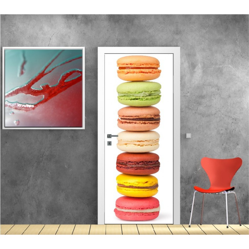 affiche poster porte d co macarons art d co stickers. Black Bedroom Furniture Sets. Home Design Ideas