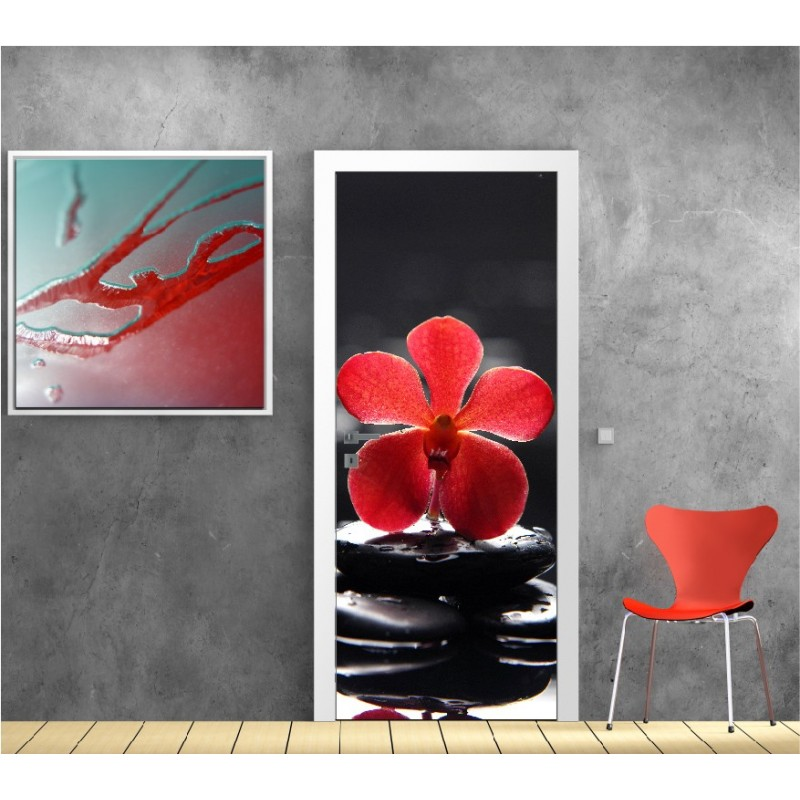affiche poster porte d co galet orchid e art d co stickers. Black Bedroom Furniture Sets. Home Design Ideas