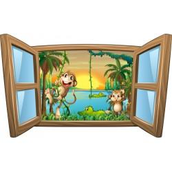 Sticker enfant fenêtre Les animaux de la jungle
