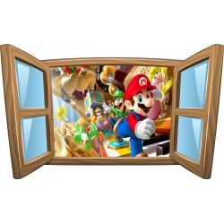 Sticker enfant fenêtre Mario et ses amis