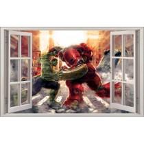 Sticker enfant fenêtre Hulk vs Hulkbuster