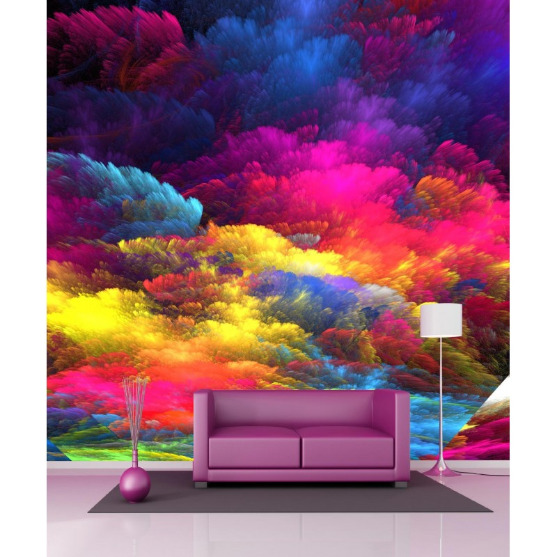 papier peint g ant nuages de couleurs 250x250cm art d co stickers. Black Bedroom Furniture Sets. Home Design Ideas