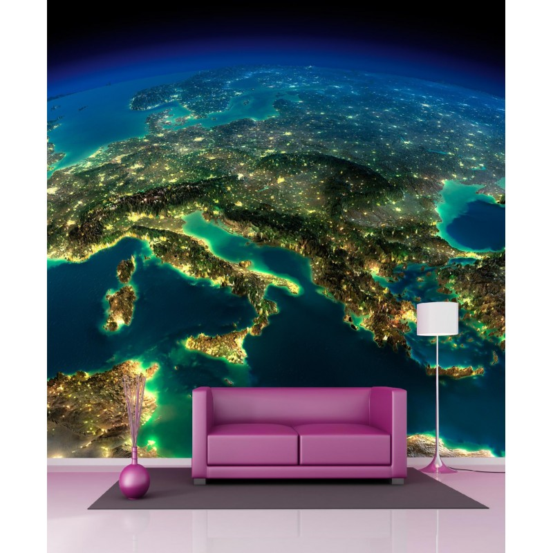papier peint g ant vue sur la terre 250x250cm art d co stickers. Black Bedroom Furniture Sets. Home Design Ideas