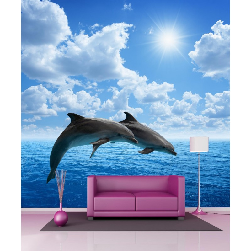 papier peint g ant dauphins 250x250cm art d co stickers. Black Bedroom Furniture Sets. Home Design Ideas