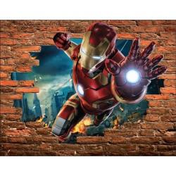 Stickers Trompe l'oeil pierre Iron Man Avengers