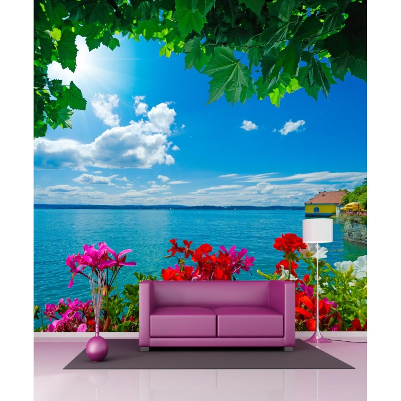 papier peint g ant vue sur la mer 250x250cm art d co stickers. Black Bedroom Furniture Sets. Home Design Ideas