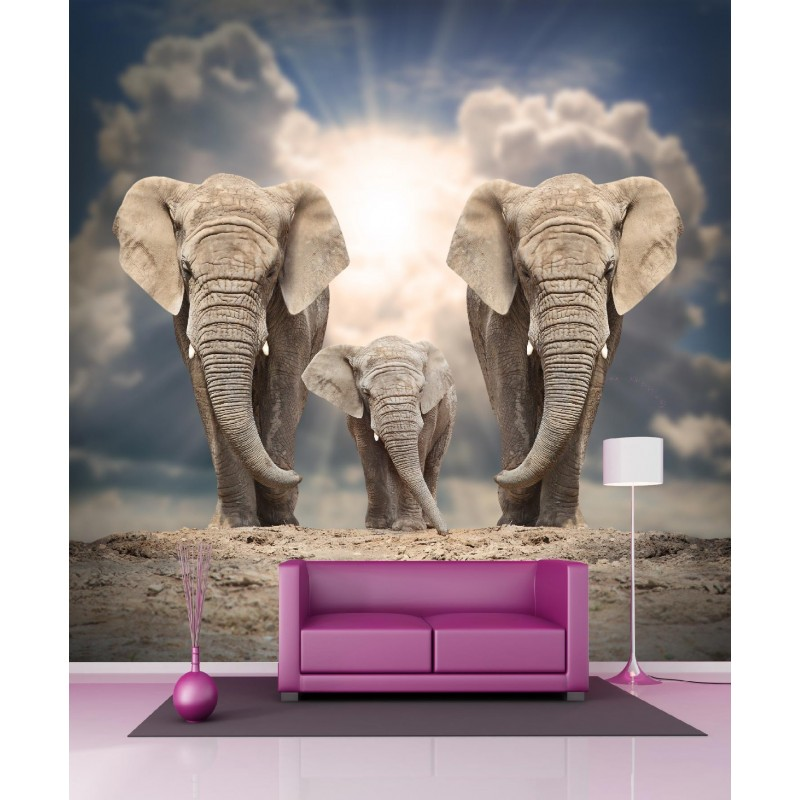 papier peint g ant el phants 250x250cm art d co stickers. Black Bedroom Furniture Sets. Home Design Ideas
