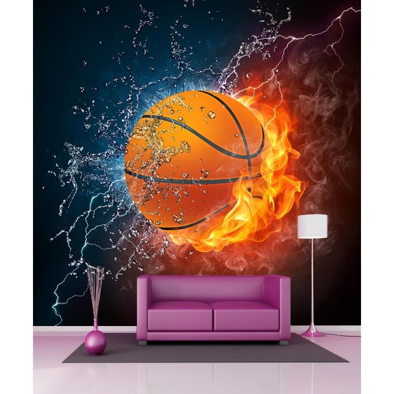papier peint g ant ballon de basket 250x250cm art d co stickers. Black Bedroom Furniture Sets. Home Design Ideas