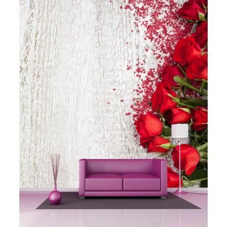 Stickers géant déco Bouquet de roses rouges