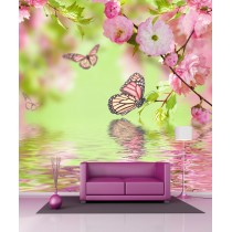 Stickers géant déco fleurs et papillons