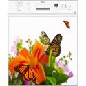 Sticker lave vaisselle Fleur papillon, magnet lave vaisselle