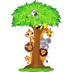Sticker enfant Arbre animaux jungle