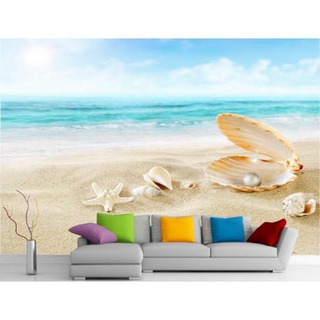 Stickers muraux géant déco : Coquillage , sable et mer