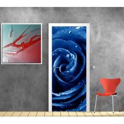 Stickers porte Rose bleu