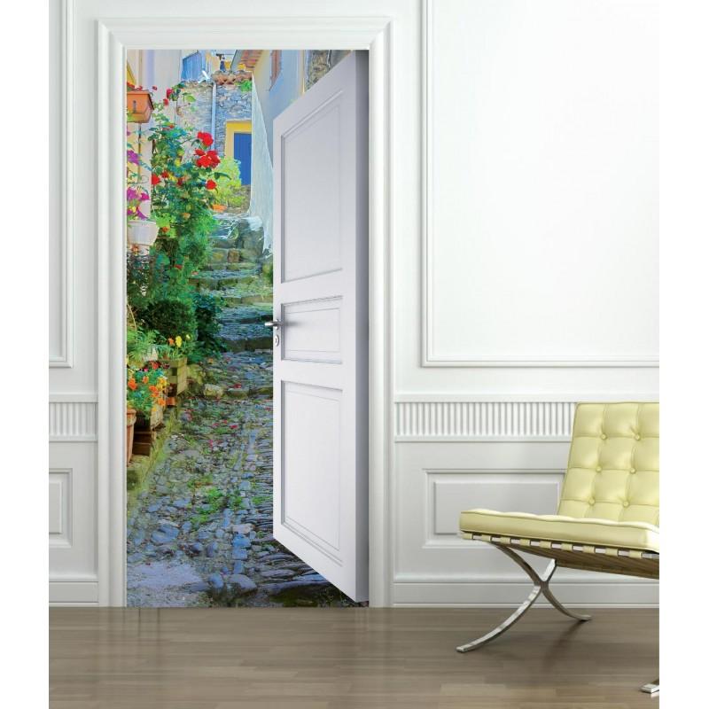 stickers porte trompe l 39 oeil ruelle fleurie art d co stickers. Black Bedroom Furniture Sets. Home Design Ideas