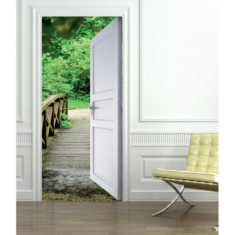 Stickers porte trompe l 39 oeil pont for t art d co stickers for Stickers pour porte de chambre