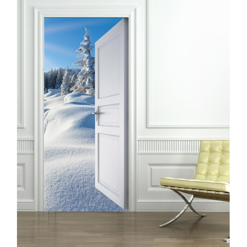 stickers porte trompe l 39 oeil montagne neige art d co stickers. Black Bedroom Furniture Sets. Home Design Ideas