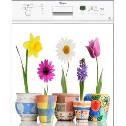 Sticker lave vaisselle pots de fleurs ou magnet lave vaisselle