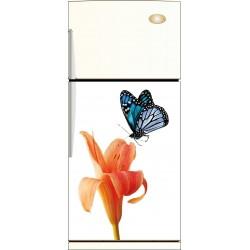Sticker frigo Fleur papillon - ou magnet frigo