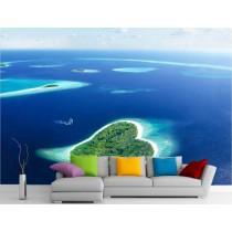Stickers muraux géant déco : île en forme de coeur