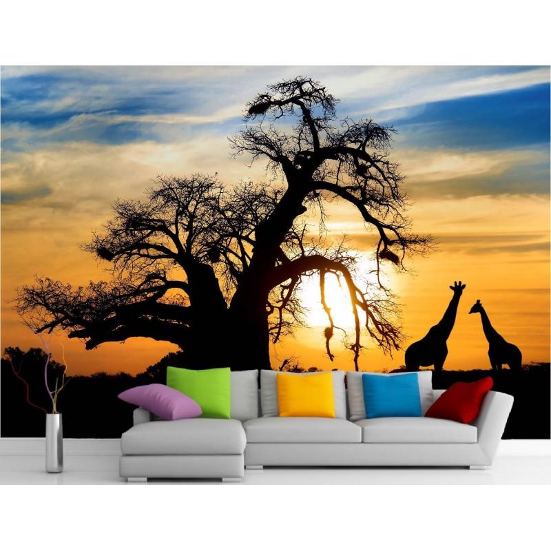 stickers muraux g ant d co coucher de soleil art d co. Black Bedroom Furniture Sets. Home Design Ideas