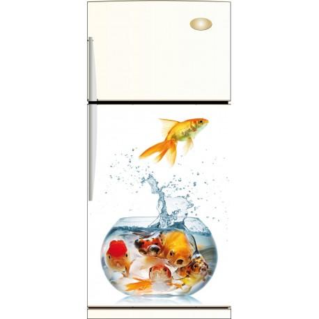 Sticker frigo poissons aquarium - ou sticker magnet frigo