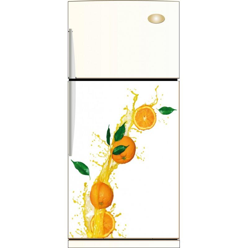 sticker frigo orange ou sticker magnet frigo art d co. Black Bedroom Furniture Sets. Home Design Ideas