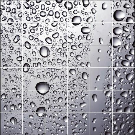 Sticker carrelage mural gouttes d 39 eau art d co stickers - Autocollant carrelage salle de bain ...