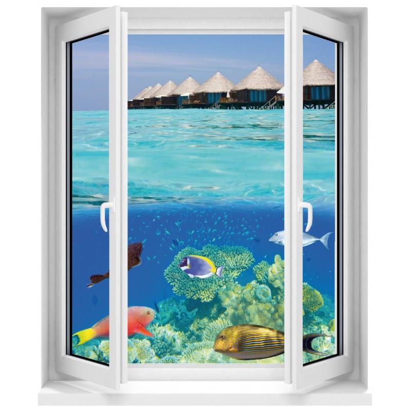 sticker fen tre poissons art d co stickers. Black Bedroom Furniture Sets. Home Design Ideas